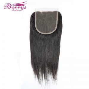 [Berrys Fashion] Lace Closure 3 part 5x5 Brazilian Straight Hair 100% Human Hair Bleached Knots Natural Hair line Remy Hair