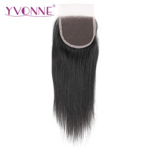 YVONNE Brazilian Straight Virgin Hair Lace Closure 4x4 Free Part Human Hair Closure Natural Color Free Shipping