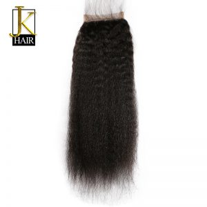 JK Hair Brazilian Lace Closure Kinky Straight 4x4 Free Part Bleached Knots With Baby Hair 100% Remy Human Hair Closures Freeship