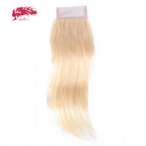 Ali Queen Hair Brazilian 613 Blonde Lace Closure 4x4 Straight Virgin Human Hair Closure Free Part