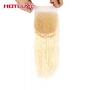 HOTLOVE Hair Brazilian 613 Blonde Lace Closure Straight 4x4 Non Remy Human Hair Closure Free Part Bleached Knots With Baby Hair