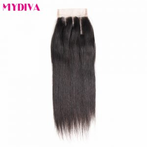 "Mydiva 100% Remy human Hair Straight 4""x4"" Lace Closure Three Part Natural Color 8-18inch With Baby Hair"