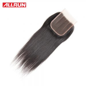 ALLRUN Peruvian Straight Closure Hair Non-Remy Human Hair Three Part 4*4 Lace Closure 130% Density Natural Color