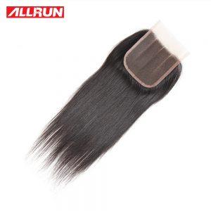 ALLRUN Peruvian Straight Closure Hair Non-Remy Human Hair Three Part 4*4 Lace Closure 130% Density Natural Color