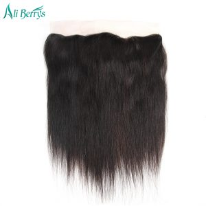 Ali Berrys Hair Brazilian Straight Hair Closure 13x4 Ear To Ear Lace Frontal Closure Remy Human Hair Closure 120% Hand Tied