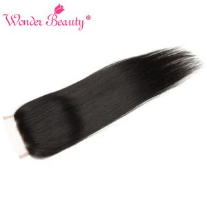 Wonder Beauty Hair Brazilian Straight remy hair 4 x 4 Free Part Swiss Lace Closure Natural Color 100% Human Hair Hand tied