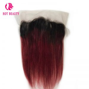 Hot Beauty Hair Straight Ombre Brazilian Hair Free Part Wine Color 100% Human Remy Hair 13*4 Pre Plucked Lace Frontal Closure