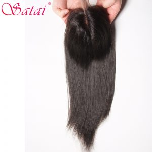 Satai Straight Hair 4x4 Lace Closure Middle Part 100% Human Hair 10-18 inch Natural Color Remy Hair Free Shipping