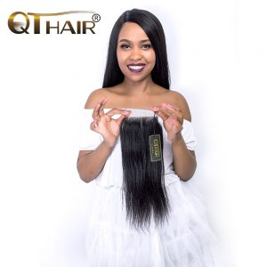 Brazilian Straight Hair Closure 4x4 Remy Human Hair Free Part Lace Closure Bleached Knots With Baby Hair