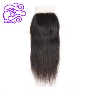 Ashimary Hair Products Brazilian Straight Hair Lace Closure 4*4 Free Part 100% Human Hair Hand Tied Medium Brown Lace Color
