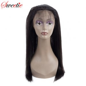 Sweetie Brazilian Remy Hair Straight 360 Lace Frontal Closure With Baby Hair 100% Human Hair Free Part Pre Plucked