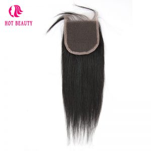 Hot Beauty Hair Straight Brazilian Virgin Hair 4X4 Free Part Lace Closure Natural Color 10-20 inch 100% Human Hair Free Shipping
