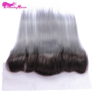 1b Grey Straight Hair Lace Frontals  Ombre Brazilian Hair 13x4 Lace Frontal Closure 100% No Remy Human Hair Dreaming Queen Hair