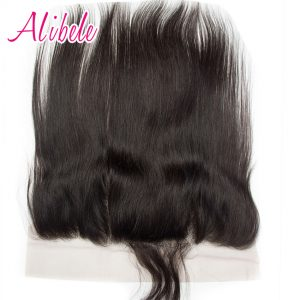 Alibele Brazilian Straight Lace Frontal Closure Remy Human Hair Pre Plucked Ear to Ear Frontal w Baby Hair Free Parting Closure