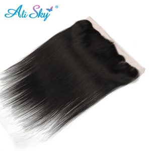 "Ali Sky Peruvian nonremy Hair Straight Lace Frontal Closure 13*4 Free Part 100% Human Hair Extensions Free Shipping 8""-20"""