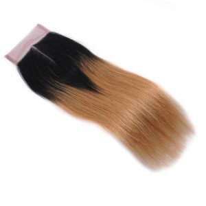 T1b/27Blonde Ombre Brazilian Straight Hair Lace Closure Middle Part Human Hair Closure Bleached Knots Shiningstar None Remy Hair