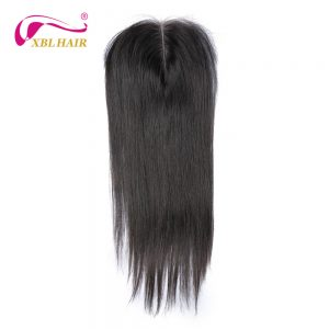 "XBL HAIR Peruvian Straight Lace Closure Middle Part 100% Remy Human Hair Natural Color 8-20"" Inches Free Shipping"