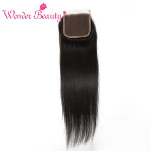 Wonder Beauty Remy Hair Brazilian straight Lace Closure 4x4 free Part 100% Human Hair Swiss lace Natural black Free Shipping