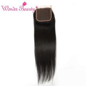 Wonder Beauty Remy Hair Brazilian straight Lace Closure 4x4 free Part 100% Human Hair Swiss lace Natural black Free Shipping