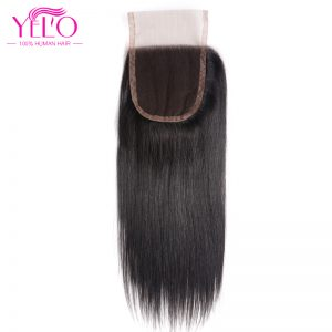 Yelo Lace Closure Straight Non Remy hair 4*4  Human Hair Free Part Closure With Baby Hair Swiss Lace 130% Density Free Shipping