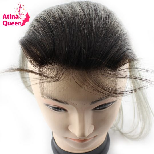 Atina Queen 1B Grey Straight 4*4 Lace Closure With Baby Hair Dark Roots Gray Color non Remy Brazilian Ombre Human Hair Closures