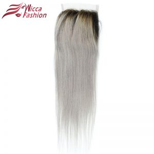 Dream Beauty Straight Hair Lace Closure 1B Grey Color Ombre Brazilian Human Hair Dark Roots Gray Color 4x4 Closures No Remy Hair
