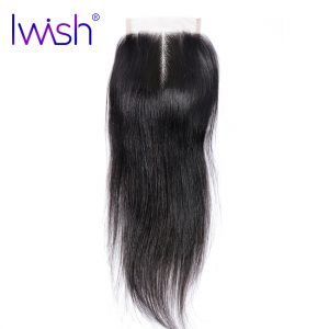 Iwish Human Hair Straight Lace Closure Middle Part 130% Density Hand Tied 8-20 Inch 1 Piece Remy Hair Weave