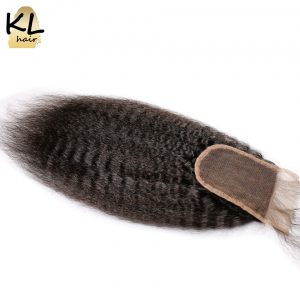KL Hair 4x4 Kinky Straight Lace Closure Human Hair Natural Color Brazilian Remy Hair Free Part Bleached Knots With Baby Hair