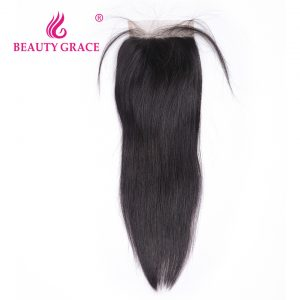 Beauty Grace Brazilian Straight Lace Closure With Baby Hair 4x4 100% Remy Human Hair Free Part Top Closures