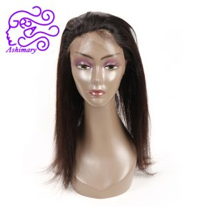 Ashimary Peruvian Straight Pre Plucked 360 Lace Frontal Closure with Baby Hair Adjustable Strap Remy Hair Natural Hairline