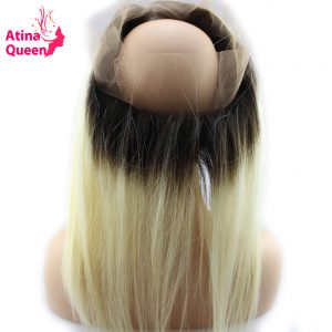Atina Queen 1b 613 360 Lace Frontal Closure Straight Dark Roots Blonde Full 360 Lace Band 100% Remy Human Hair Natural Hairline