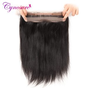 Cynosure Hair 360 Lace Frontal Closure Straight With Baby Hair Natural Black Brazilian Frontal Closure Non-Remy Hair