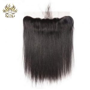 King Hair Brazilian Straight Hair Lace Frontal Closure With Baby Hair 13x4 Swiss Lace Ear To Ear Remy Human Hair Extensions