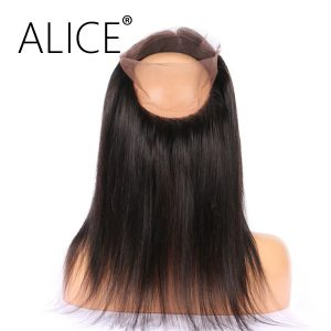 ALICE 360 Lace Frontal Closure Brazilian Virgin Straight Hair 10-22 Inches Natural Color Lace Closure Pre Plucked With Baby Hair