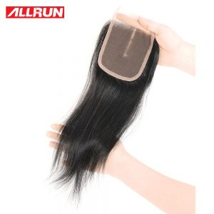 Allrun Middle Part 4*4 Lace Closure Brazilian Hair Straight Human Hair Extensions Non Remy Natural Color 130% Density Closure