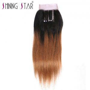 Ombre Brazilian Hair Closure Straight Three Part Blonde T1B 30 Human Hair Weave Thick 4*4 Lace Closure 1Pc Shining Star Non Remy