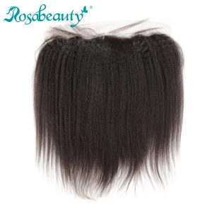 Rosabeauty 13x4 Lace Frontal Closure Brazilian Kinky Straight Human Remy Hair Bleached Knots with baby hair Shipping Free