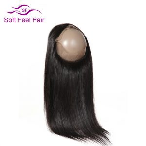 Soft Feel Hair Brazilian Straight Hair Pre Plucked 360 Lace Frontal Closure Natural Color Non Remy Human Hair Free Shipping