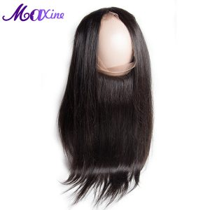 Maxine Hair Product Straight Pre Plucked 360 Lace Frontal Closure Natural Hairline With Baby Hair Bleached Knots Remy Human Hair