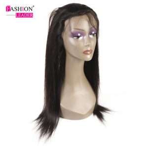 [Fashion Leader]Brazilian Straight Hair 360 Lace Frontal Closure Non-Remy Human Hair 360 Closure With Baby Hair Natural Color