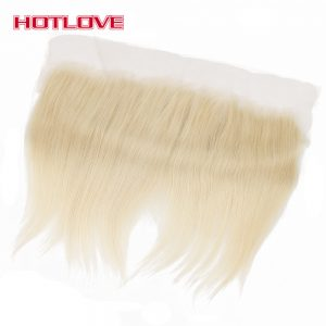 HOTLOVE Hair Brazilian Human Hair 613 Blonde Lace Frontal Closure Straight Free Part 13x4 Bleached Knots With Baby Hair Non Remy