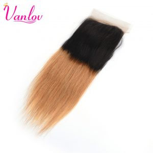 Vanlov Ombre Lace Closure Malaysian Straight Human Hair Closure T1b/27 Blonde 4x4 Closure Free Part Non Remy Free Shipping