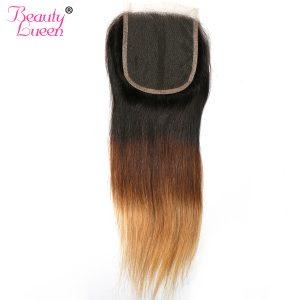 Ombre Lace Closure Brazilian Straight Closure Virgin Hair Honey Blonde 1b/4/27 Three Tone Closure Human Hair Beauty Lueen