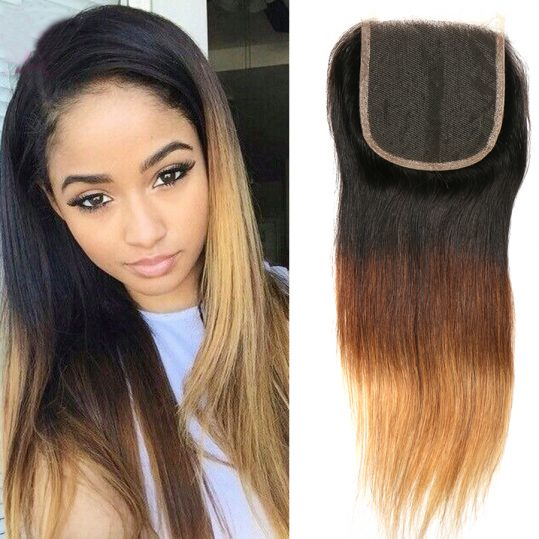Ombre Lace Closure Brazilian Straight Closure Virgin Hair Honey Blonde 1b/4/27 Three Tone Closure Human Hair Beauty Lueen