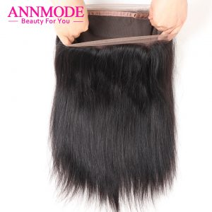 Annmode Malaysian Straight Hair 360 Lace Frontal Closure With Hair Extensions Natural Hirline Non-remy Human Hair