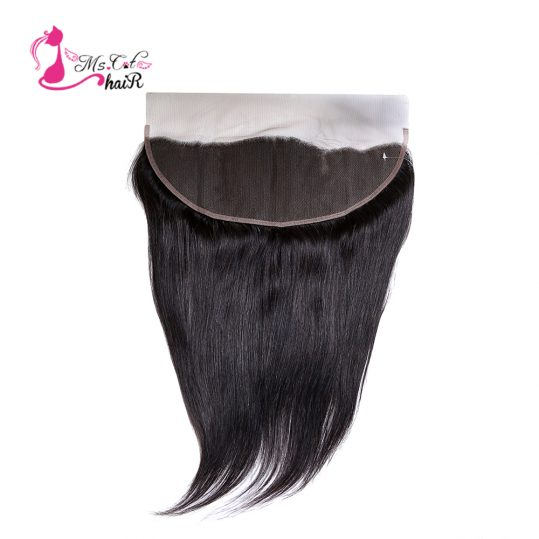 Ms Cat Hair Peruvian Straight Lace Frontal 13*4 Nature Color None-Remy Hair 100% Human Hair Ear To Ear Closure