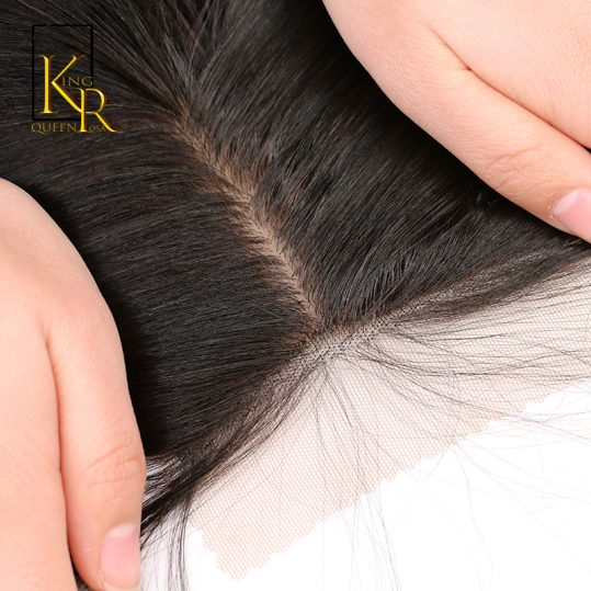 Silk Base Closure Brazilian Hair 100% Remy Straight Human Hair Closure Bleached Knots Pre Plucked With Baby Hair King Rosa Queen