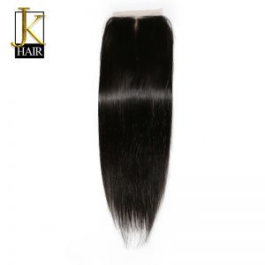 JK Hair Silk Base Closure Straight Human Hair Brazilian Remy Hair 4x4 Silk Closure Middle Part Bleached Knots with Baby Hair