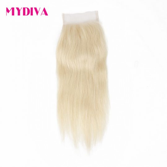 Mydiva Brazilian Non-Remy Human Hair Closure 613 Blonde Lace Closure Straight 4x4 Free Part Bleached Knots With Baby Hair