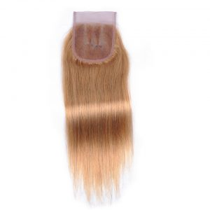 Color 27 Honey Blonde Brazilian Straight Hair Three Part Closure Shining Star Non Remy Human Hair